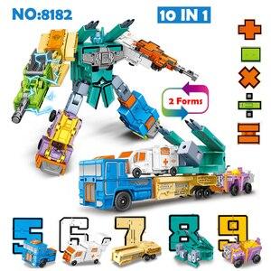 Image 3 - 10 pçs número de transformação robô brinquedo blocos de construção deformação bolso morphers educacional figura ação brinquedo para crianças