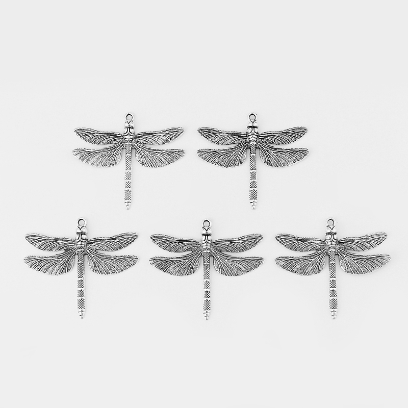 5//10pcs Silver Large Open Filigree Dragonfly Charms Pendant Jewelry Findings