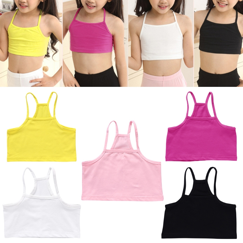 Girls Cotton Vest Teenage Bra Kids Candy Color Sports Breath Tank Tops Underwear