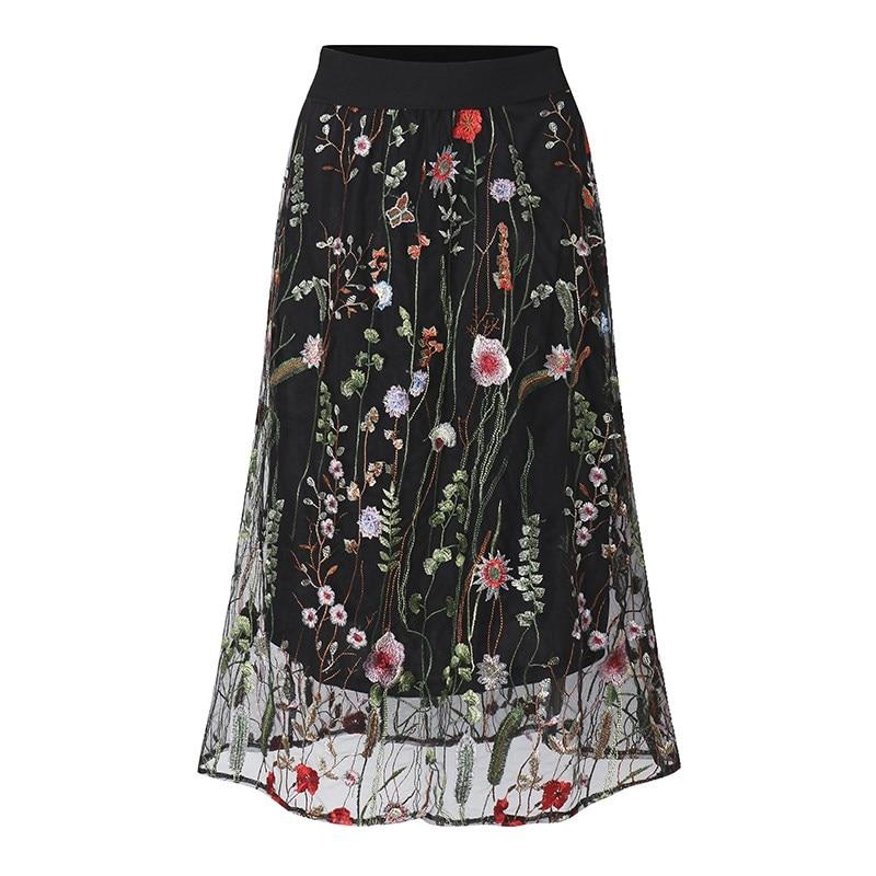 ZANZEA Women Vintage Skirts 2018 Summer Female Retro Elegant Black Floral Embroidered Mesh Overlay Midi A Line Skirts Plus Size