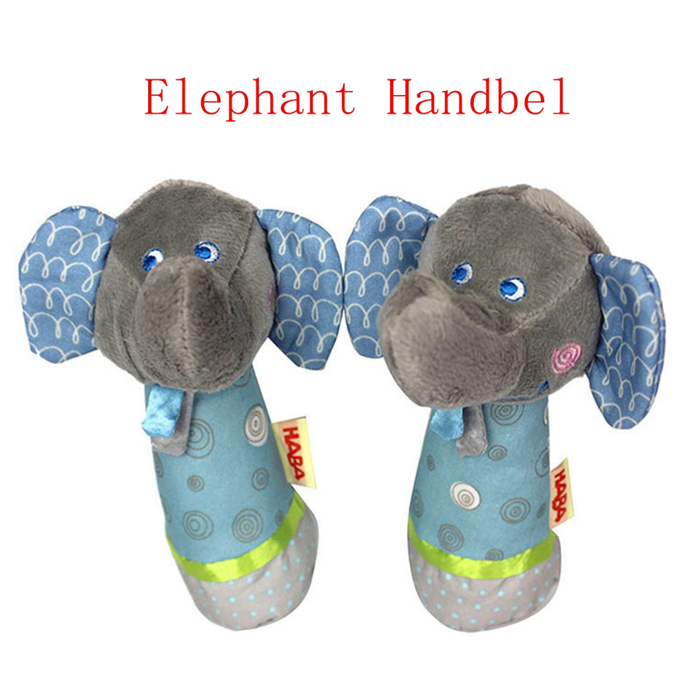 BABELEMI Baby Toys Soft Elephant Plush Doll Hand Puppet Handbell Rattle Funny Sounding Toys for Infant Child Kids Children ...