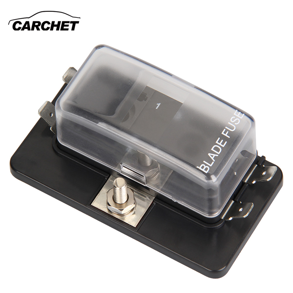 CARCHET Universal 32V 4 Way Fuse Box Block Fuse Holder Box Car Vehicle Circuit Automotive Blade Car Fuse Accessory Tool hot sell ...