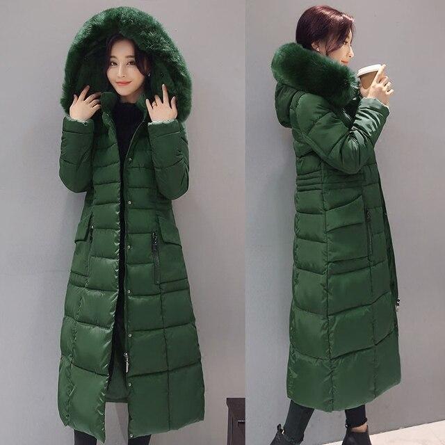 2016 Winter Coat Women Solid Slim Fur Thickening Cotton Down Coat Plus Size 3XL Elegant Winter Jacket Long Parka s111