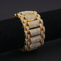 Hip Hop Full Rhinestones Bling Iced Out Rapper Bracelet Gold Silver Watch Band Link Chain Bracelets Bangles for Men Jewelry