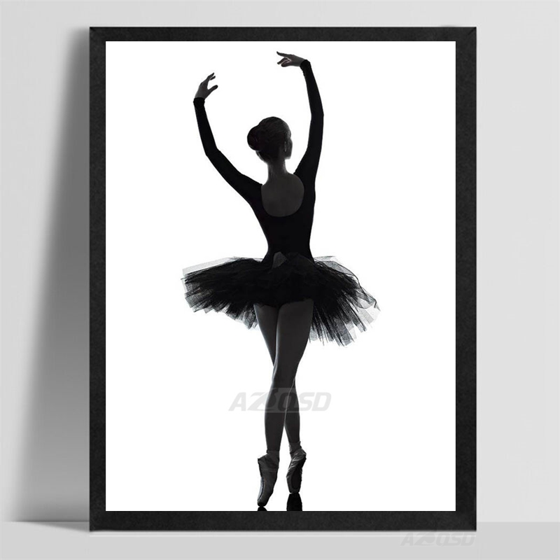 Art print poster wall picture modern black white ballet dancer silhouette beauty girl canvas painting ballerina home decor pp093