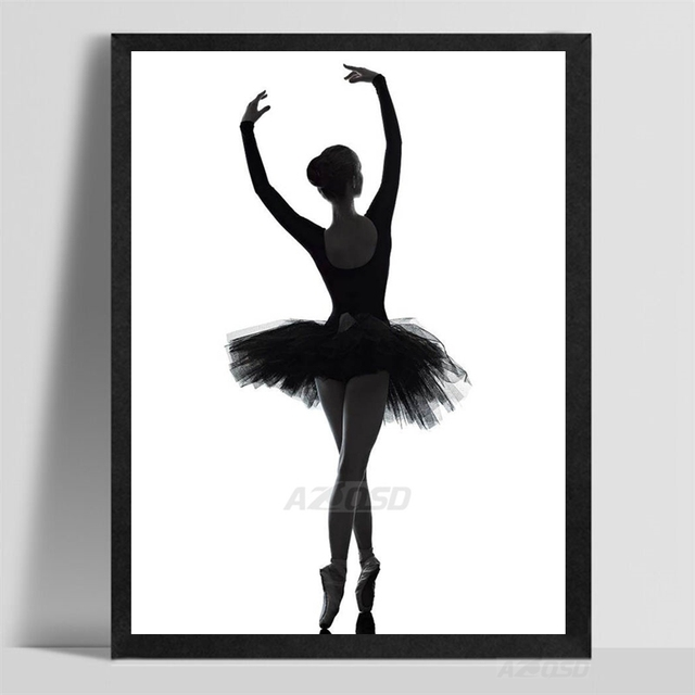 kunstdruck poster wand bild moderne schwarz wei ballett. Black Bedroom Furniture Sets. Home Design Ideas