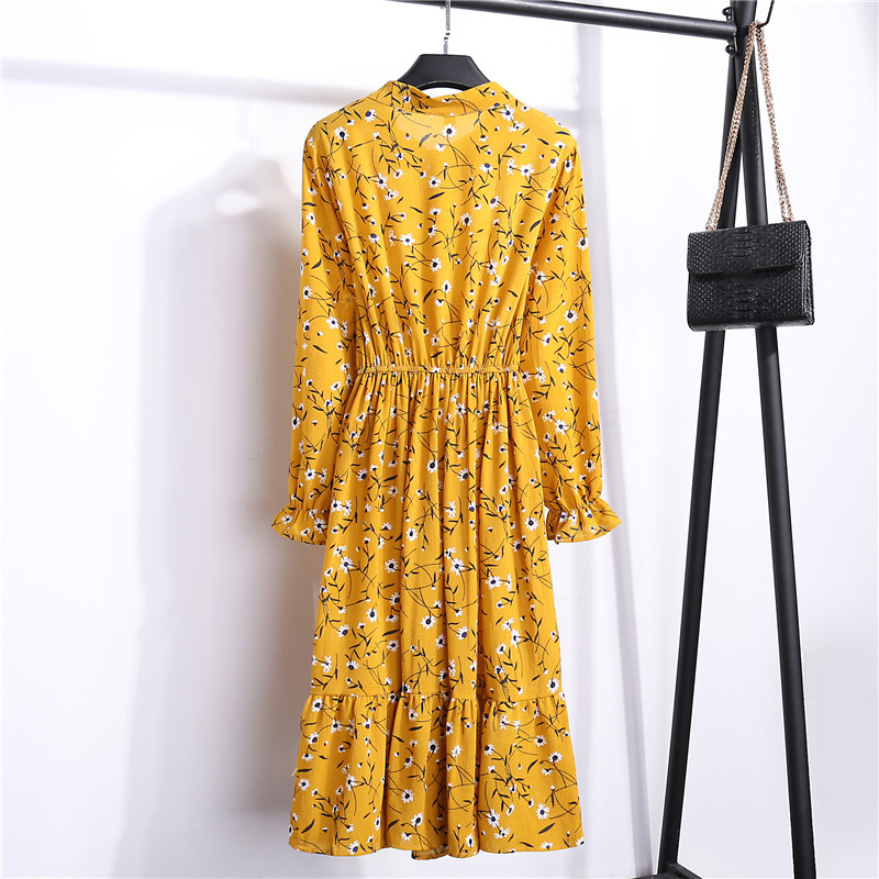 Summer Korean Chiffon Women Dress Elegant Ladies Vintage Long Dress Boho Floral Office Long Sleeve Vestidos Clothing 5LYQ003 13