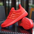 Men Air Mesh Casual Shoes Fashion Sport Walking Solid Flat Comfortable Breathable Superstar Trainers Zapatillas Hombre Red Black