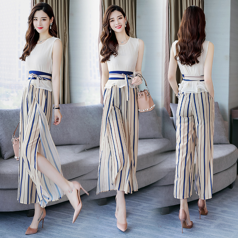 Female Pullover Elastic Waist Women's Summer Suit Striped Patchwork Two Piece Set Top And Pants Fashion Women Sets Clothes
