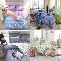 English Letters Sky Stripes Soft Home Textiles 4pcs 3pcs Duvet Cover Sets Soft Polyester Bed Linen