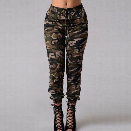 Women Camouflage Pants Trousers High Waisted Slim Fit Camo Jogger Pants  Army Waistband Sweatpants Pants Outdoor Female Trousers