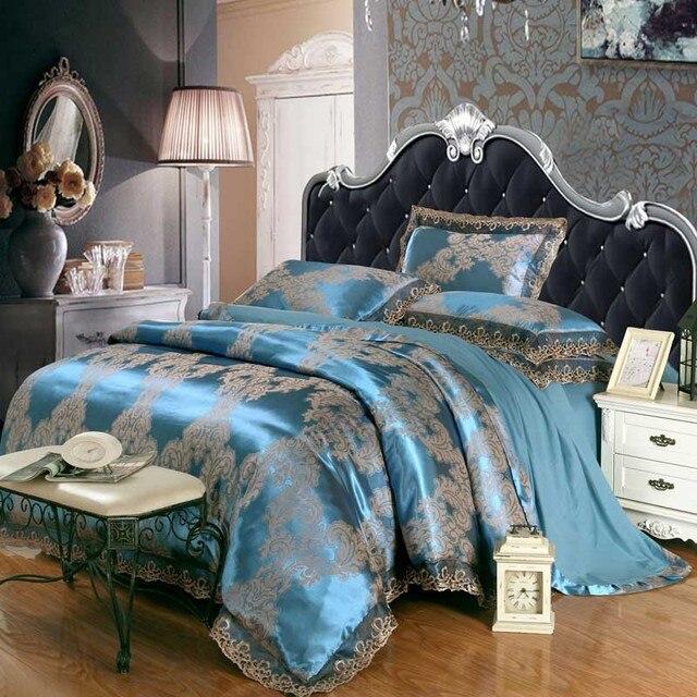 4 cái Màu Xanh Lá Cây Jacquard bộ đồ giường lụa bộ nữ hoàng vua Satin Sang Trọng quilt/duvet/comforter trải giường cover chăn mền thiết lập nhà dệt