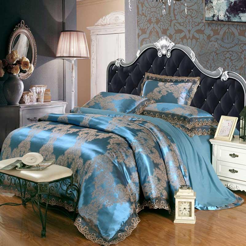 4pcs green jacquard silk bedding set queen king luxury satin quilt duvet comforter cover bed. Black Bedroom Furniture Sets. Home Design Ideas