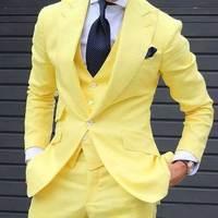 Летние желтые льняные мужские свадебные костюмы брюки широкие остроконечные нагрудные смокинг жениха шафера пиджаки 3 шт. Terno Masculino