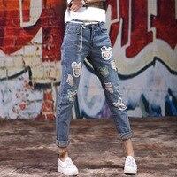 KL1051 venta Caliente ripped jeans boyfriend jeans de moda para mujer loose tamaño grande agujero pantalones hasta los tobillos