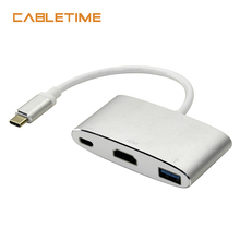 Cabletime Type C to HDMI Adapter 3in1 USB Type C 3.1 to USB 3.0 Hub Female Converter for Macbook Chromebook Laptop Adapter 4k*2k usb 3 1 type c to hdmi type c usb 3 0 4k usb c hub adapter type c extender hd 4k male to female for macbook air converter