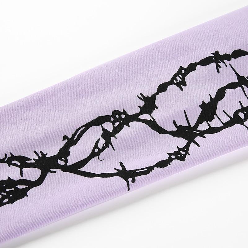 12Sweetown Harajuku Crop Top Long Sleeve Turtleneck T Shirt purple Korean fashion Style graphic tees Women Printed Kawaii Tshirt