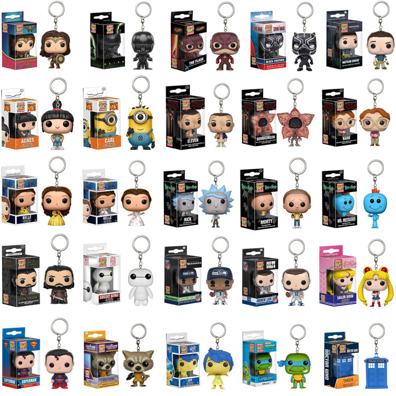 FUNKO POP Marvel Keychain Spider Chivalrous U.S.A Captain Wizard Doctor Strange Venom Loki Action Figure Toys With Box