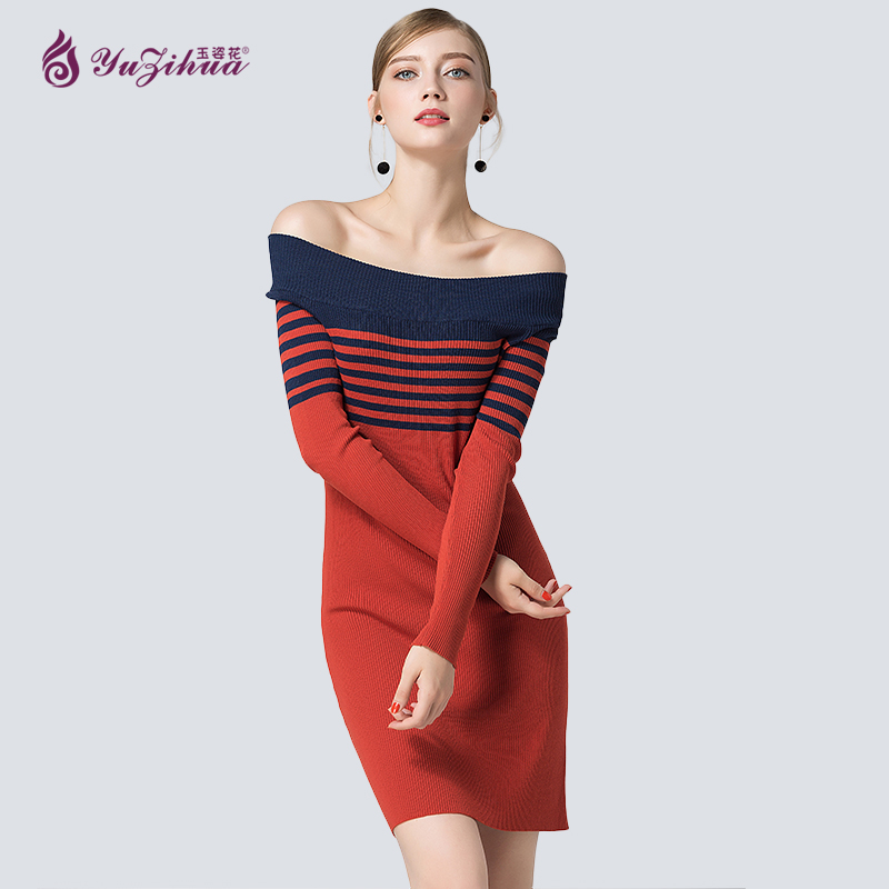 Yuzihua Autumn Woman Sweater Dresses Pullovers Long Sleeve Off Shoulder Knitted Jumper Slim Pull Femme Hiver Striped Party Dress drop shoulder bell sleeve jumper sweater
