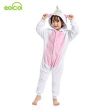 Купить с кэшбэком EOICIOI New Golden Horn Pegasus Pijamas Onesies Flannel Kids Boys Girls Pajamas Animal Hooded Children Sleepwear Cartoon Cosplay