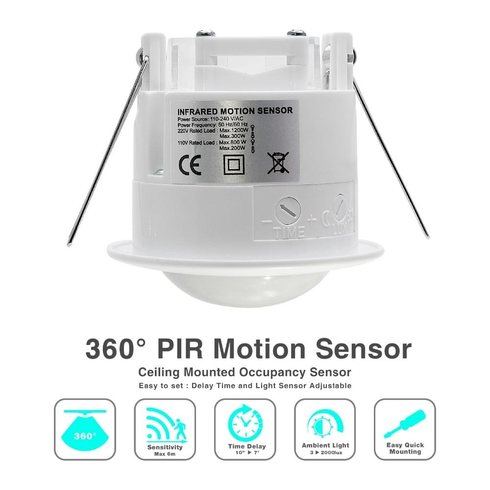 1pc 12v 220v Mini Adjustable 140 360 Degree Ceiling Pir Infrared Motion Sensor Light Switch Wiring Diagram Small High Quality 110v Ac Inlay