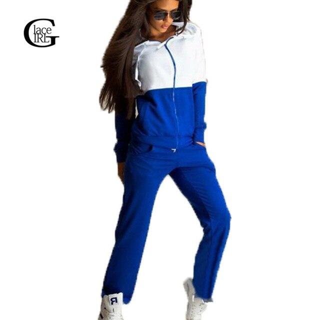 Lace Girl 2017 Весна Осень Причинно Одежда Набор 2 Шт. Набор Женщины Капюшоном Толстовка Костюмы Установленные Хлопок Спортивные Костюмы Спортивная Одежда