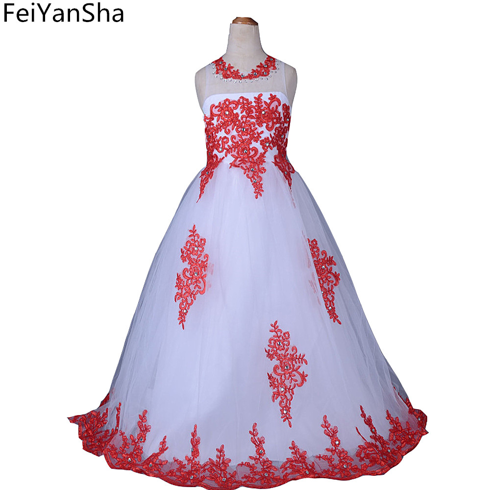 FeiYanSha Flower Girl Dresses Summer White Stain Dress for Children Toddler Kids Wedding Tutu Dress