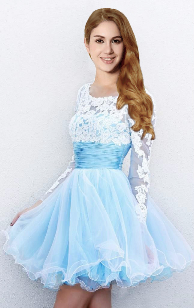 57385aa123c 2016 Hot Sale Short Mini Light Blue Prom Dresses with Long Sleeves Cheap In  Stock Real Image Lace Up Tulle Skirt Prom Party Gown-in Prom Dresses from  ...