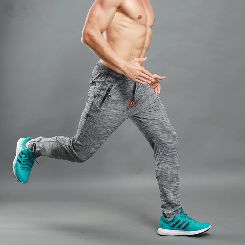 2018 Mens joggers sweatpants zipper pocket fitness workout pants elasticity skinny men sweat pants parkour trousers mens jogger