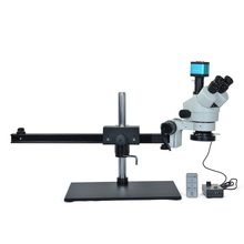 Simul-focal 7X-45X Trinocular Stereo Microscope+14MP HDMI Industrial Microscope Camera+60 LED light with Big Table Stand for LAB цена и фото