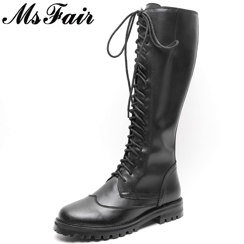 MSFAIR Round Toe Low Heel Women Boots Zipper Square heel Knee High Boots Women Shoes Genuine Leather Black Boot Shoes For Girl cicime summer fashion solid rivets lace up knee high boot high heel women boots black casual woman boot high heel women boots