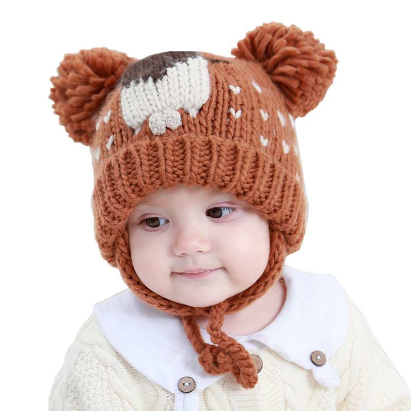 3263003cbda Moon Kitty 2018 Winter Cute Baby Hats Double Thicken Warm Handmade Woven  Male Baby Girl Baby Knit Cap Autumn Hats For Kids-in Hats   Caps from  Mother   Kids ...
