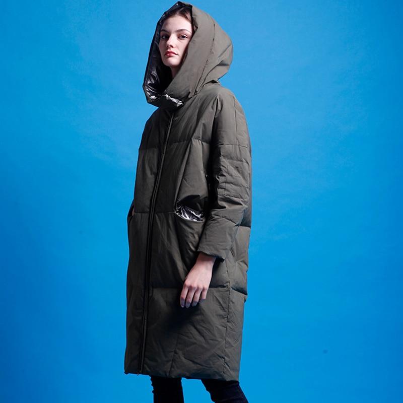 YNZZU 2018 Winter Women's   Down   Jacket Elegant Long Duck   Down     Coat   Women Thick Warm Hooded Loose Female Jacket High Quality O729