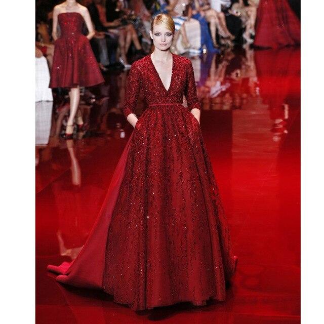 Rot Luxus Perlen auf Spitze V ausschnitt 3/4 Hülse Kleid Zuhair ...