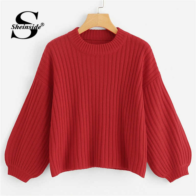 Sheinside Red Bishop Sleeve Solid Jumper Round Neck Ladies Casual 2018 New Autumn Crop Pullovers Tops Knitted Elegant Sweaters