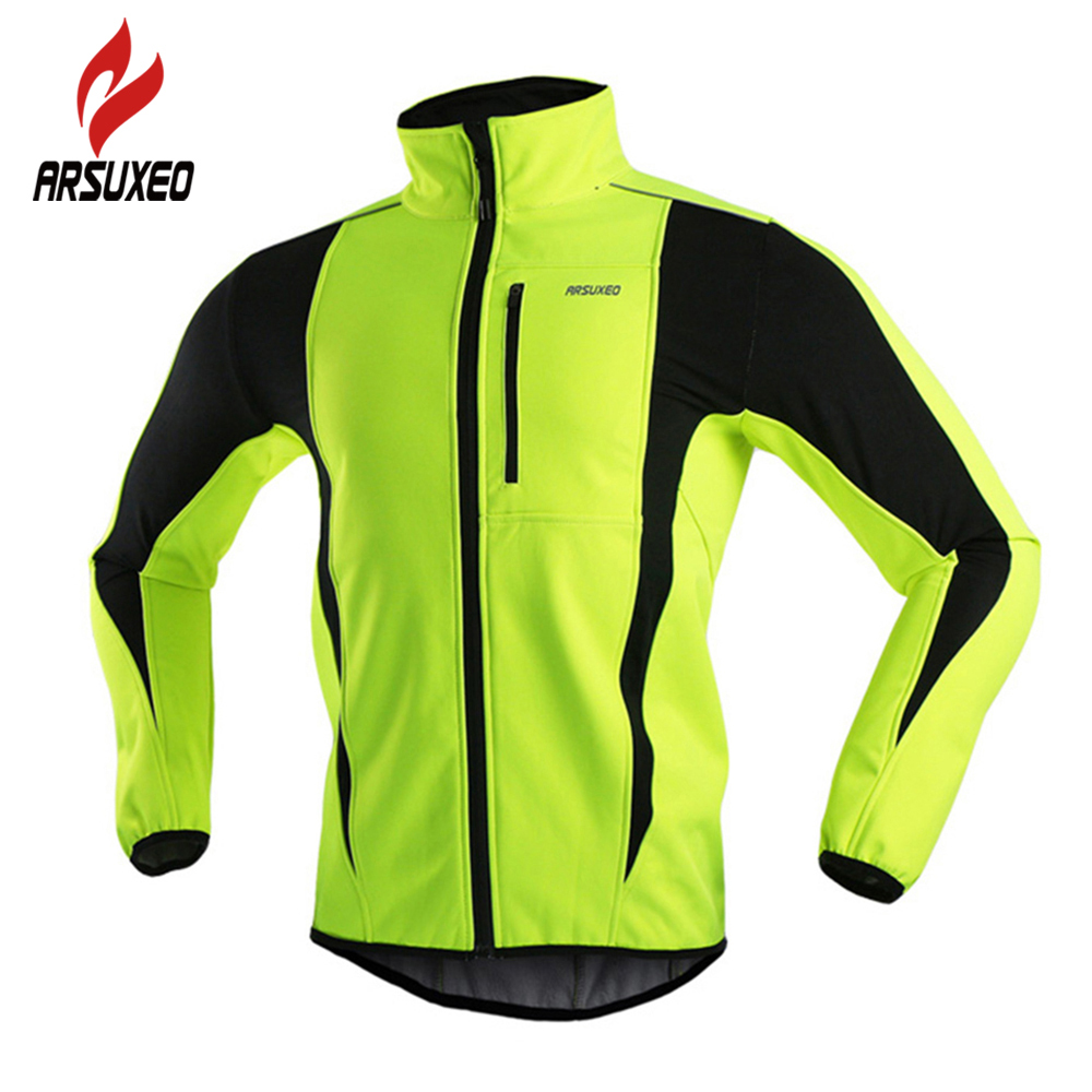цена ARSUXEO Winter Warm Up Thermal Fleece Cycling Jacket Bicycle MTB Road Bike Clothing Windproof Waterproof Long Jersey Jersey онлайн в 2017 году