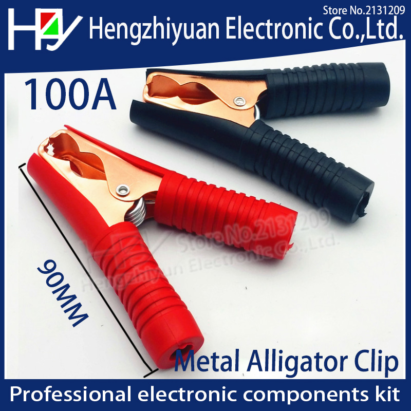 Hot Car Alligator Clips Battery Clamps Crocodile Clip 100A Red+Black 90mm *75mm jacket electric bottle clamp power test clip car 100a battery terminal alligator crocodile clamp clip pair