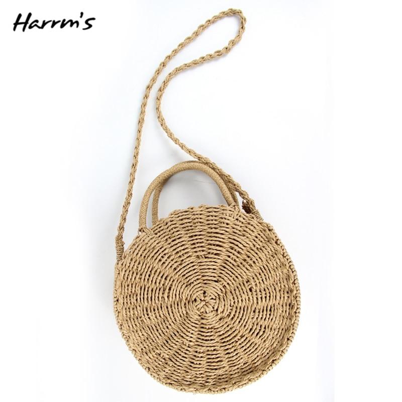 2018 New 4 Style Handmade Rattan Woven Round Women Handbag Vintage Retro Straw Rope Knitted Bag Paper Fashion Summer Beach Bag