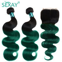 1B/Green Colored Human Hair Bundles With Closure SEXAY Ombre Brazilian Body Wave Non Remy Hair Weave Ombre Bundles With Closure