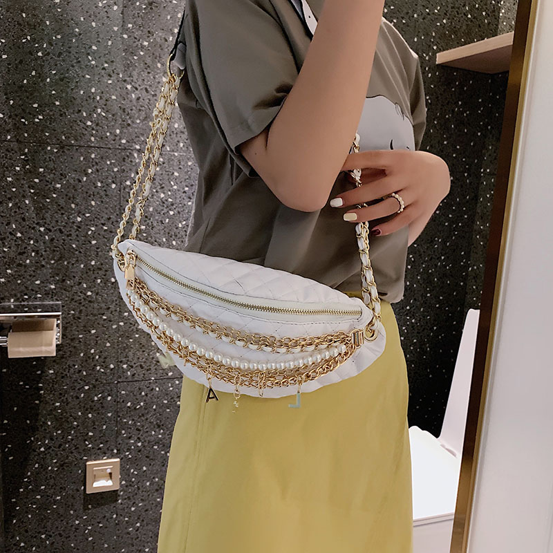 Image 5 - Shoulder Bag Women Leather Crossbody Bag Chain pearl Chest bag High Quality Messenger Bags Banana Pack Luxury-in Shoulder Bags from Luggage & Bags
