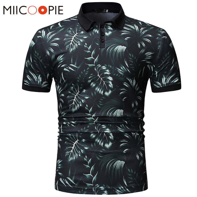 Summer Dress 2019 Mens   Polo   Shirt Brands Floral Print Short Sleeve   Polo   Hombre Male Contrast Color   Polo   Homme Sportwear Jersey