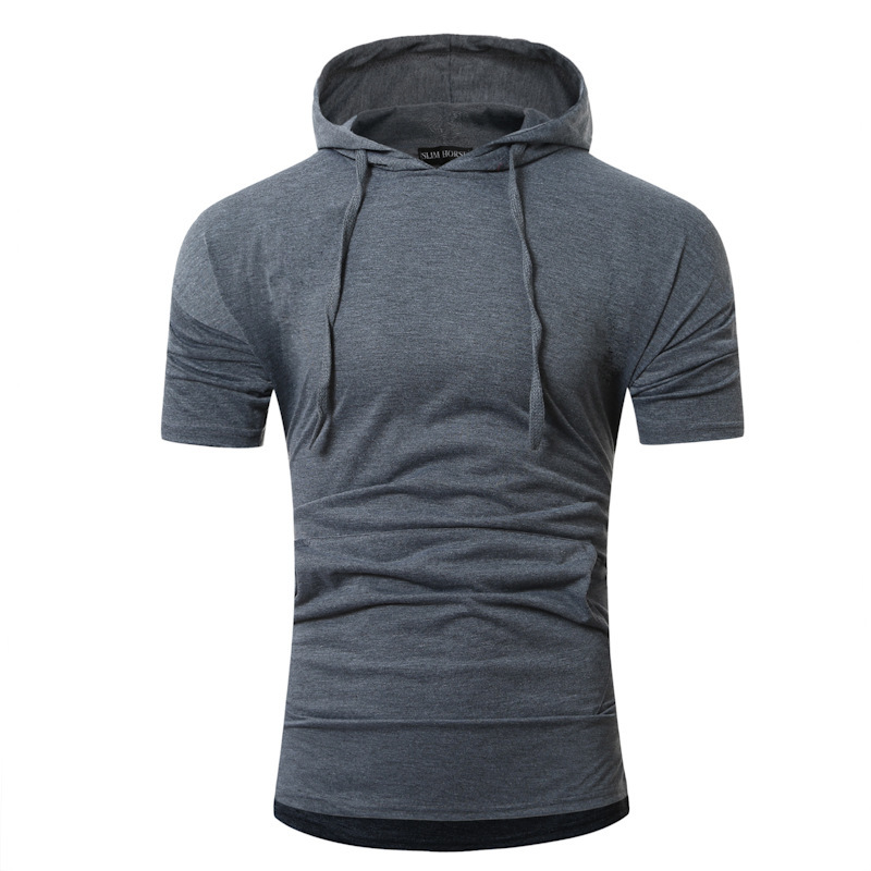 Men's Casual Tops Summer Short Sleeved T-shirt Solild Color Round Neck Hooded Clothes Men's T-shirt slim fit fashion tshirts