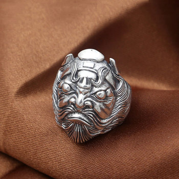 FNJ 925 Silver Ring Zhong Kui Lucky Punk New Fashion Jewelry Original S925 Sterling Silver Rings for Men Size 7.5-10.5 bague