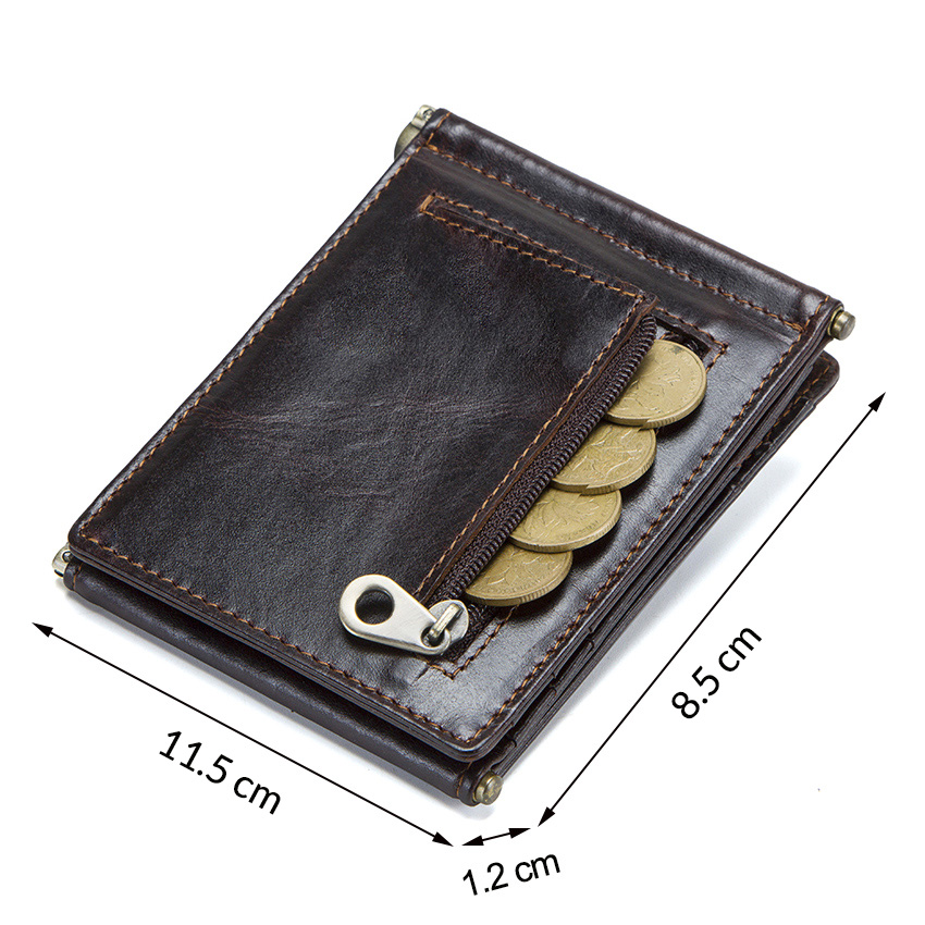 CONTACT'S Crazy Horse cowhide leather RFID money clip slim card wallet trifold male cash clamp man cash holder zip coin pocket 2