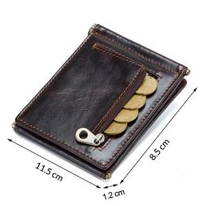Image 3 - CONTACTS מטורף סוס עור פרה עור RFID כסף קליפ slim כרטיס ארנק trifold זכר מזומנים מהדק איש מזומנים מחזיק zip מטבע כיס
