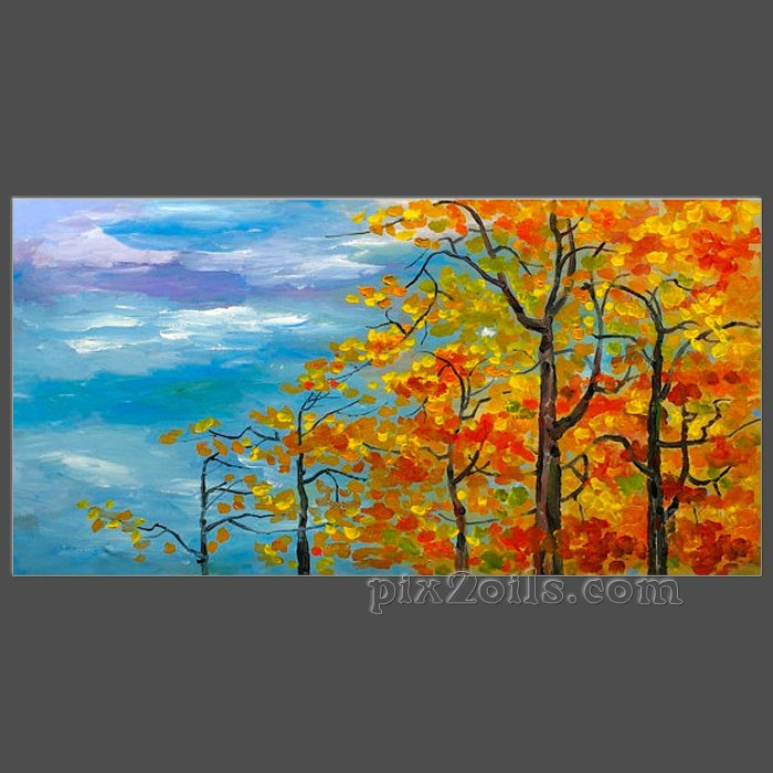 Abstract Fall Forest Contemporary Acrylic Painting Autumn