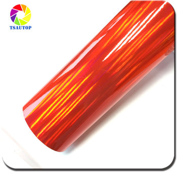 1.42*20M Air free bubbles Rainbow Laser Chrome Vinyl car vinyl chrome car wrap vinyl Red