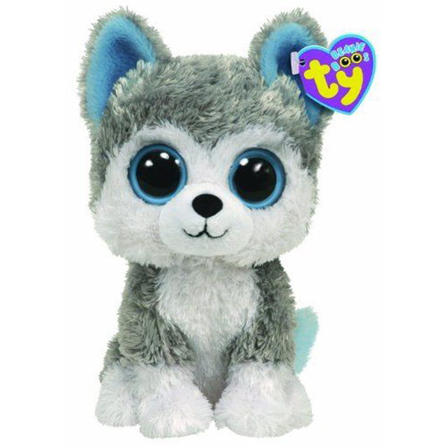 "Pyoopeo Ty Beanie Boos 6"" 15cm Slush the Husky Dog Plush Regular Soft Big-eyed Stuffed Animal Collection Doll Toy with Heart Tag"