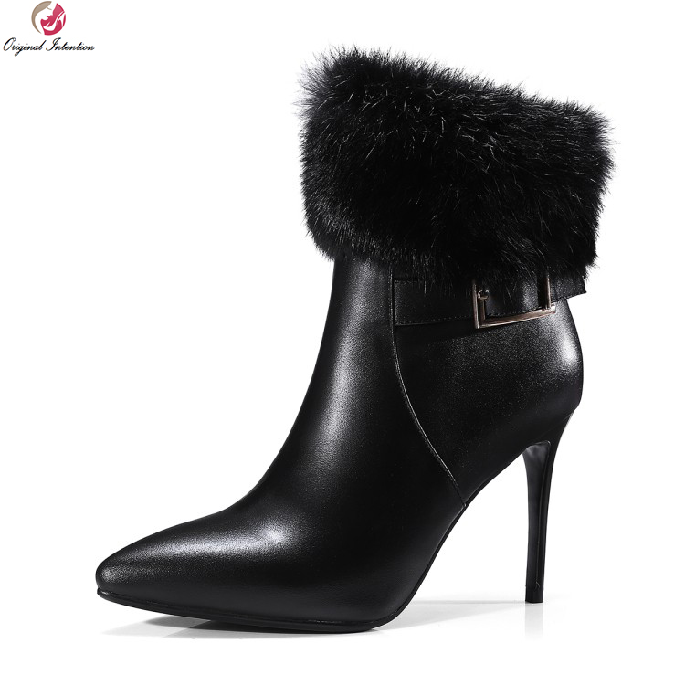 Original Intention Women Gorgeous Ankle Boots Real Leather Fur Pointed Toe Thin Heels Boots Nice Black Shoes Woman US Size 4-8.5 original intention high quality women knee high boots nice pointed toe thin heels boots popular black shoes woman us size 4 10 5