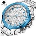 WWOOR часы для мужчин модные спортивные кварцевые часы для мужчин s часы лучший бренд класса люкс Полный сталь Бизнес водонепроницаемые часы ...